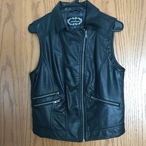 Faux Black Leather Vest